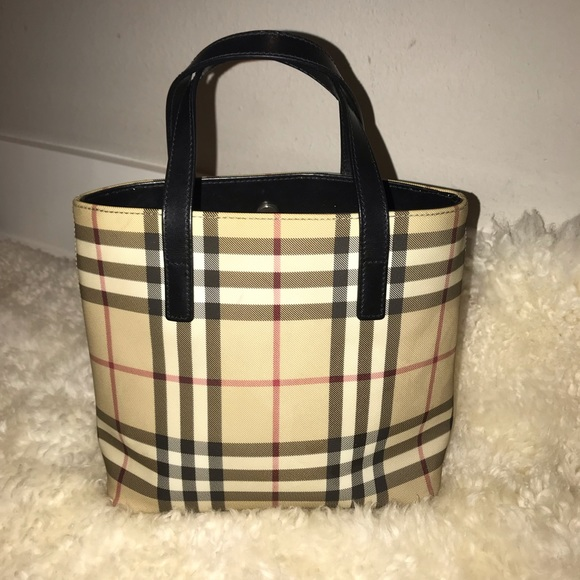 4c5e739f658 Burberry Bags | Auth Plaid Pvcleather Small Tote Bag | Poshmark